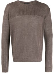 Iris Von Arnim Knit Crew Neck Jumper Brown