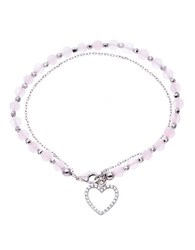 Lord And Taylor Cubic Zirconia Heart Pink Bead Bracelet Silver