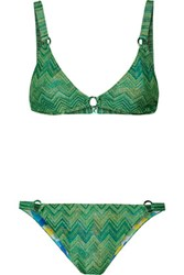Missoni Mare Reversible Crochet Knit Triangle Bikini Bright Green