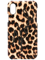 Karl Lagerfeld Signature Leopard Iphone X Xs Case Brown