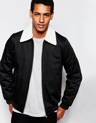 Asos Harrington With Faux Shearling Collar Black