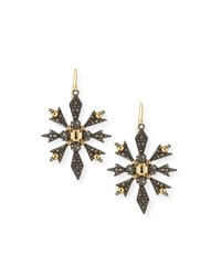 Alexis Bittar Pave Snowflake Drop Earrings Yellow Silver