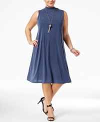 Ing Trendy Plus Size Lace Up Shift Dress Navy