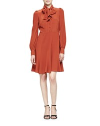Co Puffed Sleeve Tie Neck Dress Burnt Sienna Women's