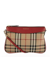 Burberry Peyton Horseferry Check Clutch Bag Female Red