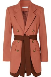 Rejina Pyo Elliot Belted Double Breasted Layered Wool Blazer Coral
