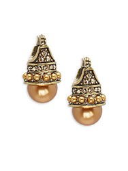 Heidi Daus Clutch Crystal And Rhinestone Stud Earrings Gold