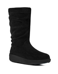 Fitflop Loaff Tm Slouchy Suede Mid Calf Boots Black