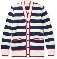 Gucci Embroidered Striped Cotton Cardigan Navy