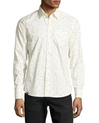 Wesc Orien Dot Print Cotton Sport Shirt Navy