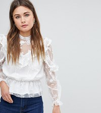 Boohoo Lace Detail Top White