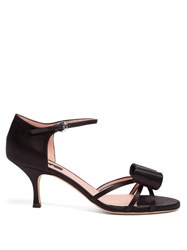 Rochas Bow Trim Satin Sandals Black