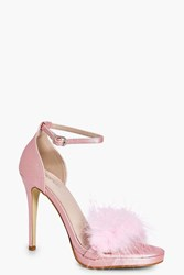 Boohoo Bridal Feather Trim Two Part Sandal Pink