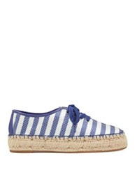 Nine West Gingerbred Lace Up Espadrilles Blue White