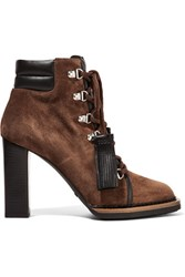 Tod's Lace Up Leather Trimmed Suede Ankle Boots Tan