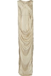 Rick Owens Draped Satin Twill Maxi Dress Ecru