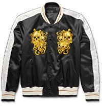 Alexander Mcqueen Embroidered Cotton And Silk Blend Satin Souvenir Jacket Black