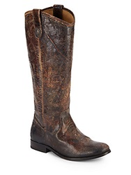 Frye Melissa Distressed Leather Tall Boots Chocolate