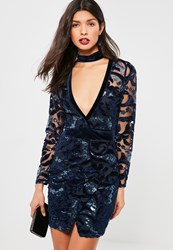 Missguided Navy Lace And Velvet Choker Bodycon Dress