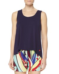 Josie Swing Knit Tank With High Low Hem Navy