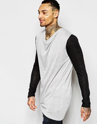 Asos Longline Long Sleeve T Shirt With Drape Neck And Asymmetric Hem Gray