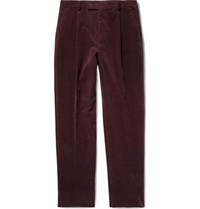Wacko Maria Tapered Pleated Cotton And Cashmere Blend Corduroy Trousers Burgundy