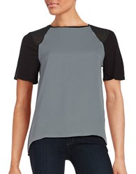 Calvin Klein Jeans Studded Raglan Short Sleeved Hi Lo Top Grey