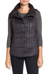 Eileen Fisher Women's Recycled Nylon Blend Quilted Channel Stitched Vest Black