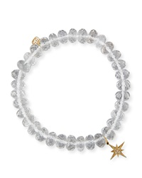 8Mm Faceted Clear Quartz Bead Bracelet With Starburst Charm Sydney Evan