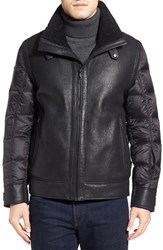 Tumi Men's Genuine Shearling And Nylon Quilted Flight Jacket Black