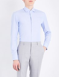 Boss Striped Slim Fit Cotton Shirt Light Pastel Blue