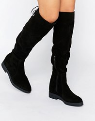 Pieces Darby Suede Flat Knee Boots Black Suede