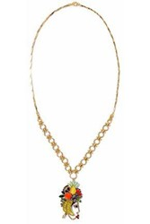Elizabeth Cole 24 Karat Gold Plated Swarovski Crystal Faux Pearl And Stone Necklace Gold