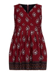Yumi Curves Floral Dress With Contrast Hem Maroon