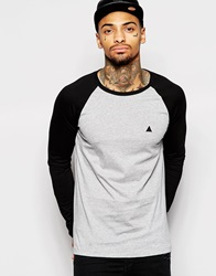Asos Long Sleeve T Shirt With Contrast Raglan Sleeves And Embroidery Greyblack
