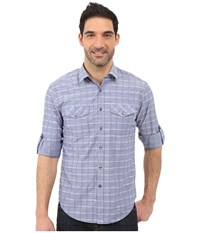 James Campbell Serif Plaid Long Sleeve Woven Denim Men's Long Sleeve Button Up Blue