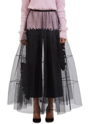 Msgm Long Tiered Tulle Skirt Black
