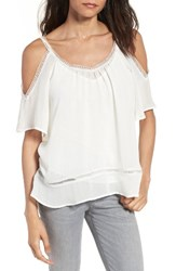 Chelsea 28 Women's Chelsea28 Lace Trim Off The Shoulder Top Ivory