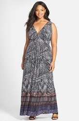Plus Size Women's Tart 'Chloe' Print Empire Waist Jersey Maxi Dress Palm Ombre