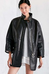 Silence And Noise Eddie Oversized Vegan Leather Sherpa Coat Black