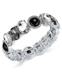 Charter Club Silver Tone Jet Stone Crystal Stretch Bracelet Only At Macy's