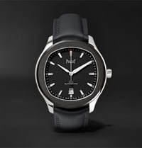 Piaget Polo S Automatic 42Mm Stainless Steel And Leather Watch Black