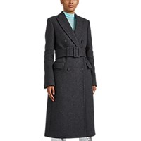Helmut Lang Belted Wool Blend Melton Double Breasted Topcoat Gray