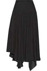 Chloa Asymmetric Silk Blend Georgette Midi Skirt