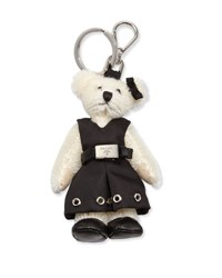 Prada Marlene Teddy Bear Charm For Handbag White Black Bianco Nero White Black