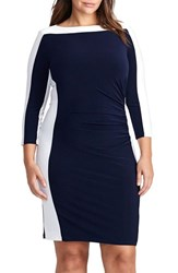 Lauren Ralph Lauren Plus Size Women's Jersey Sheath Dress Lighthouse Navy White
