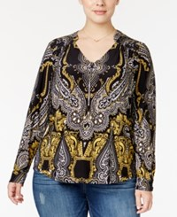 Inc International Concepts Plus Size Scarf Print Blouse Only At Macy's Enchanted Paisley