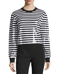 Michael Kors Long Sleeve Striped Sequin Top Black White Women's