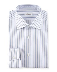 Brioni Striped Dress Shirt Navy Lavender Women's Size 18.5' Assorted