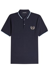 Dolce And Gabbana Embellished Cotton Polo Shirt Blue